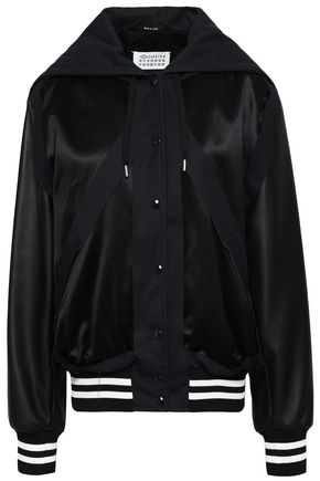 MAISON MARGIELA Leather-paneled satin hooded bomber jacket