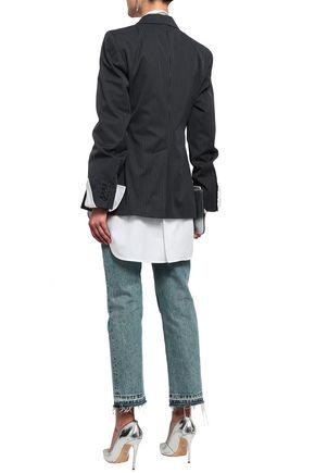 MAISON MARGIELA Double-breasted pinstriped cotton-blend blazer