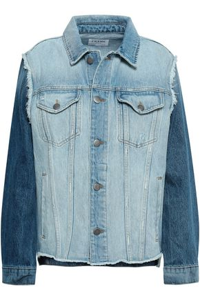 FRAME Distressed two-tone denim jacket
