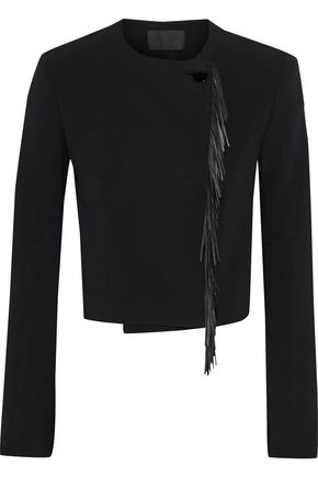 ALEXANDER WANG Cropped fringed leather-trimmed crepe jacket