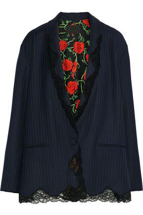 ALEXANDER WANG Lace-trimmed pinstriped wool-twill blazer