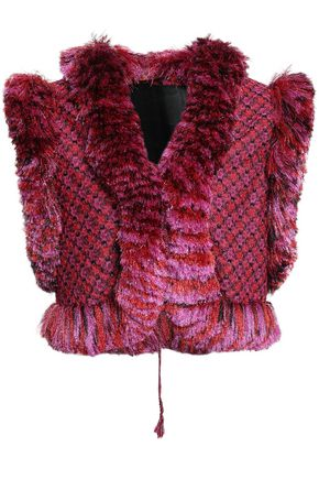 MISSONI Cropped fringe-trimmed metallic crochet-knit vest