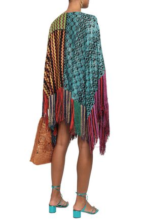 MISSONI Patchwork-effect metallic crochet-knit poncho