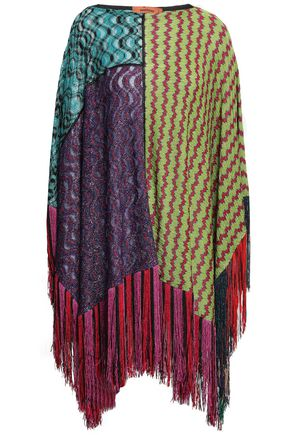 MISSONI Patchwork-effect metallic crochet-knit poncho
