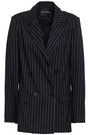 NICHOLAS Double-breasted pinstriped canvas blazer