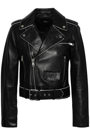 THEORY Cropped leather biker jacket