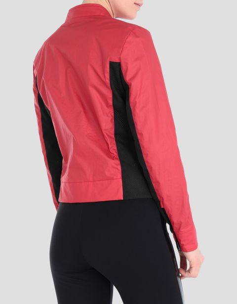 Women's biker jacket in coated cotton