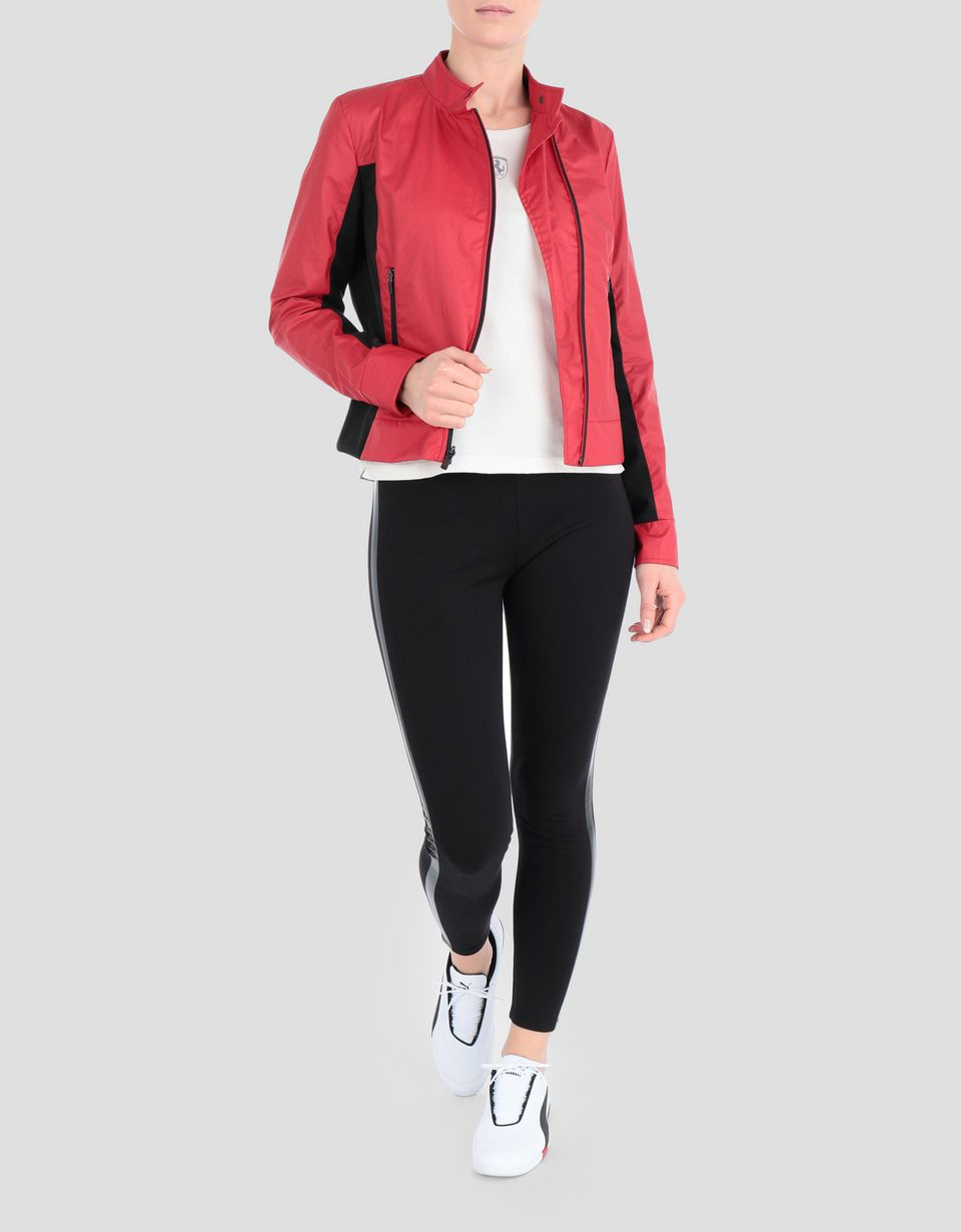 Scuderia Ferrari Online Store - Women's coated cotton biker jacket - Biker Jackets