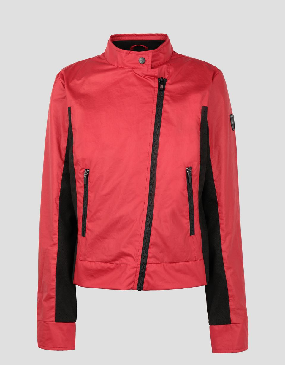 Scuderia Ferrari Online Store - Women's coated cotton biker jacket -