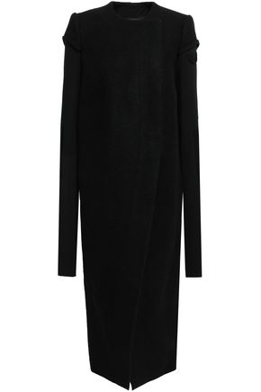 RICK OWENS Paneled virgin wool-felt and stretch-knit coat