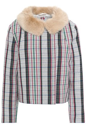 SHRIMPS Faux fur-trimmed checked wool jacket