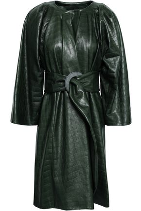 GIORGIO ARMANI Belted croc-effect leather coat