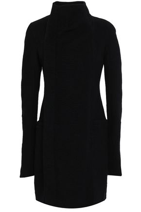 RICK OWENS Cashmere and ribbed-knit paneled coat