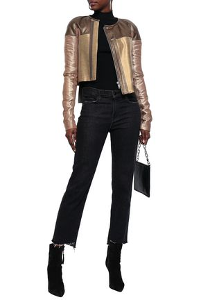 RICK OWENS Patchwork metallic duchesse-satin and leather jacket