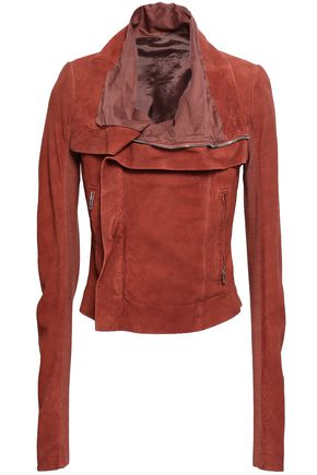 RICK OWENS Stretch-knit paneled suede biker jacket