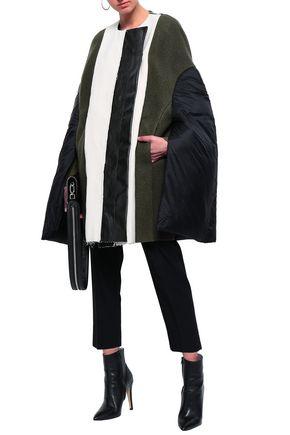RICK OWENS Double-breasted coated canvas-paneled wool-felt coat