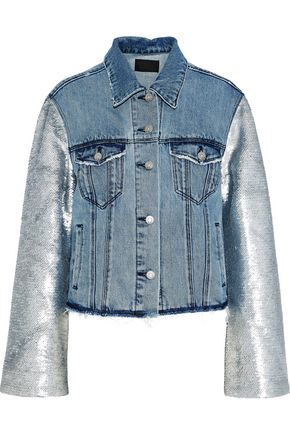 RTA Sequin-paneled distressed denim jacket