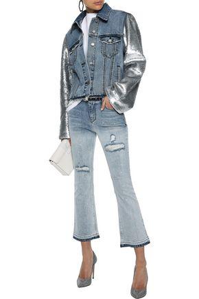 RTA Sequin-paneled distressed denim jacket