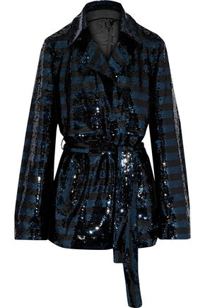 RTA Striped sequin-embellished mesh jacket