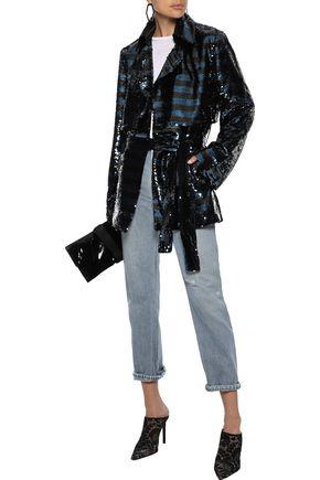 RTA Striped sequin-embellished mesh jacket