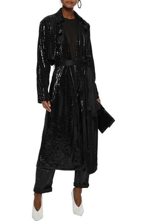 RTA Karina satin-trimmed sequined jersey trench coat