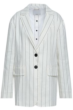 TIBI Striped linen-blend blazer