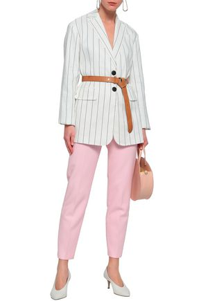 TIBI Striped linen-blend blazer