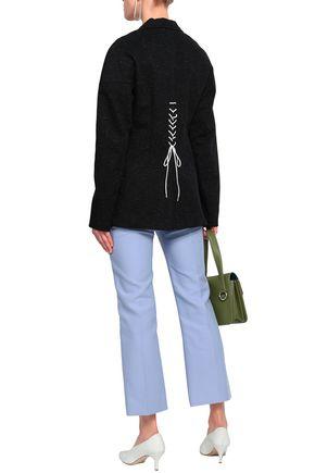 TIBI Lace-up marled cotton-blend twill blazer