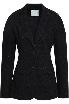 TIBI Lace-up marled cotton-blend twill blazer