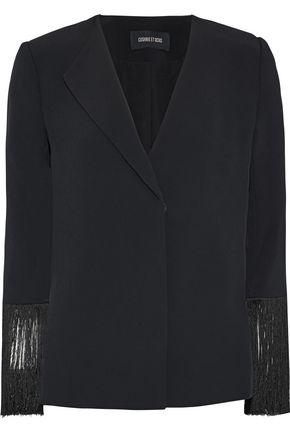 CUSHNIE Fringed crepe jacket