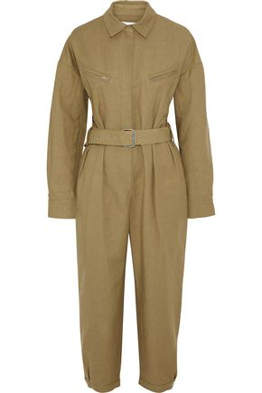 IRO Belted cropped linen and cotton-blend canvas jumpsuit