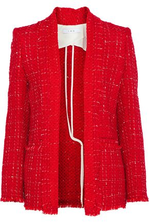 IRO Frayed cotton-blend bouclé-tweed blazer