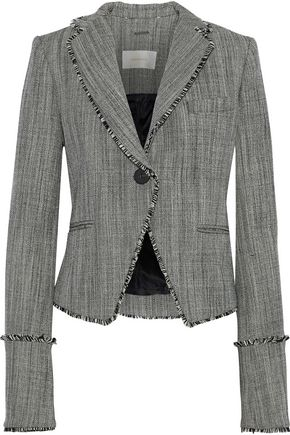 ZIMMERMANN Folly Sovereign frayed wool-tweed blazer