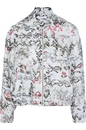 IRO Oriana leather-trimmed snake-print linen jacket
