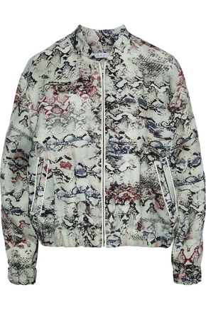IRO Oriana leather-trimmed snake-print linen jacket