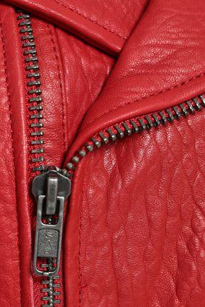 REBECCA MINKOFF Wolf textured-leather biker jacket