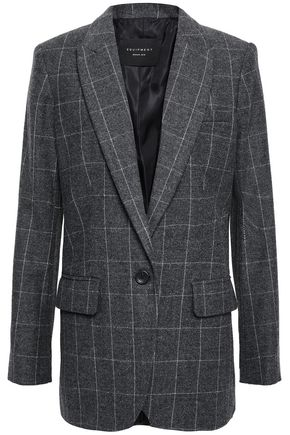 EQUIPMENT Checked wool-blend blazer