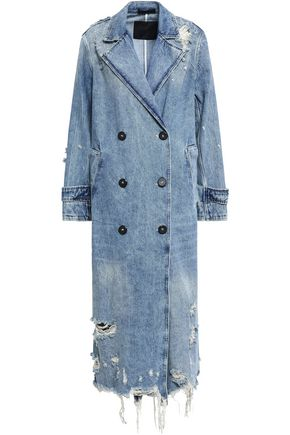 ALEXANDER WANG Double-breasted distressed denim coat