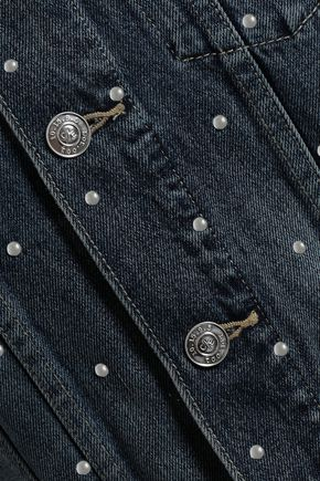 CURRENT/ELLIOTT Cropped studded denim jacket