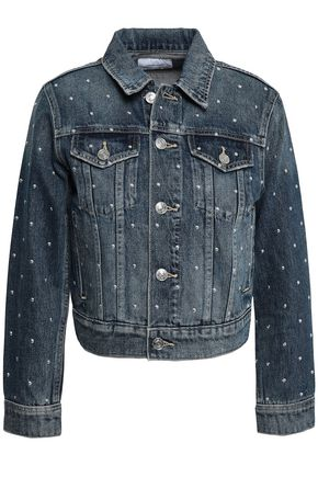 CURRENT/ELLIOTT Cropped studded denim jacket