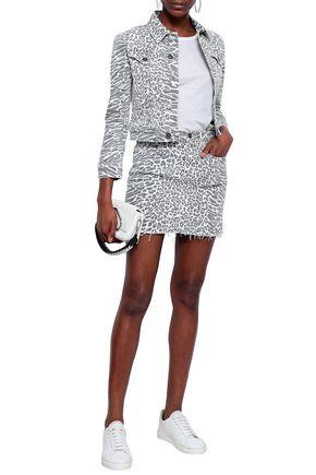 Current Elliott Current/Elliott Woman The Baby Trucker Leopard-Print Denim Jacket White