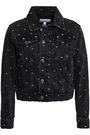 CURRENT/ELLIOTT The Baby Trucker Warped polka-dot denim jacket