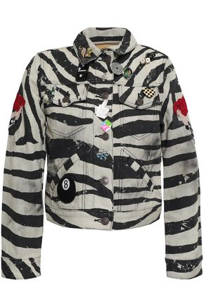MARC JACOBS Embellished coated zebra-print denim mini jacket