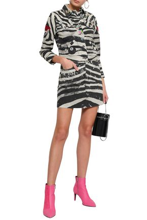 MARC JACOBS Embellished coated zebra-print denim mini jacket