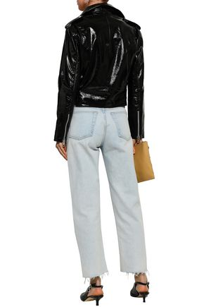 W118 by WALTER BAKER Chrystal crinkled patent-leather biker jacket