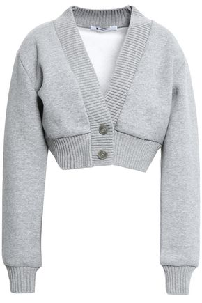 ALEXANDERWANG.T Cropped mélange cotton-blend fleece cardigan
