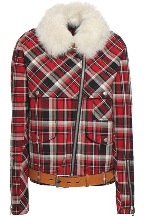 RAG & BONE Shearling-trimmed checked cotton jacket