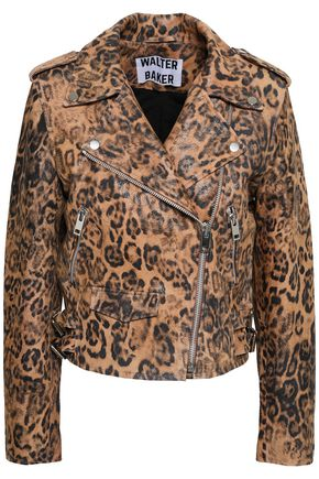 W118 by WALTER BAKER Leopard-print coated leather biker jacket