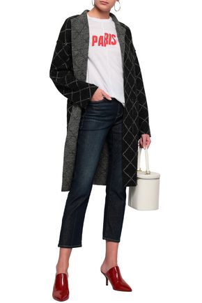 JOIE Checked wool-blend jacquard coat