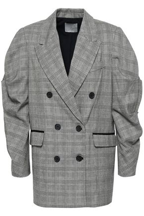 JOIE Tomika double-breasted Prince of Wales checked jacquard jacket